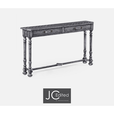 Jonathan Charles Antique Dark Grey Console with Strap Handles