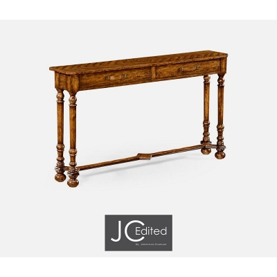 Jonathan Charles Country Walnut Console with Strap Handles