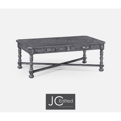 Jonathan Charles Antique Dark Grey Parquet Coffee Table with Strap Handles