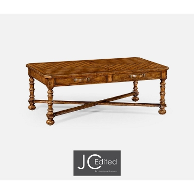Jonathan Charles Country Walnut Parquet Coffee Table with Strap Handles