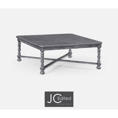 Jonathan Charles Antique Dark Grey Large Square Parquet Coffee Table