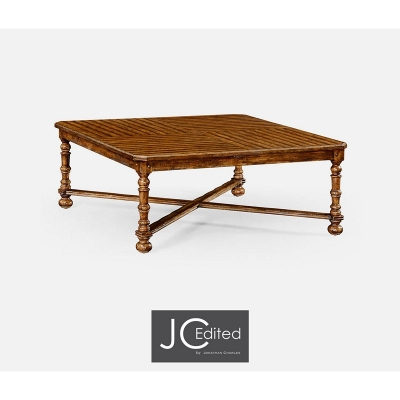 Jonathan Charles Country Walnut Large Square Parquet Coffee Table