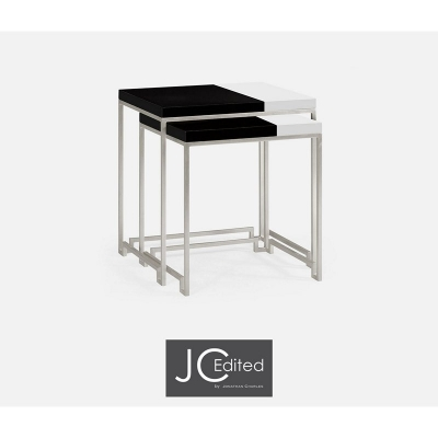 Jonathan Charles Silver Iron Nesting Table with Smoky Black and Biancaneve Top