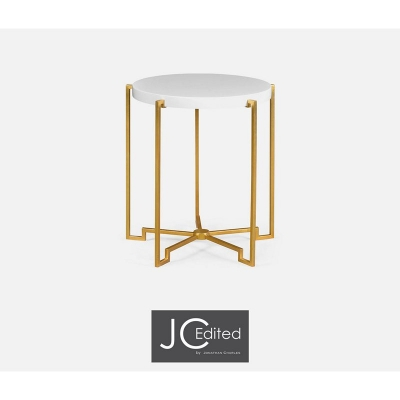 Jonathan Charles Gilded Iron Round Lamp Table in Biancaneve Top