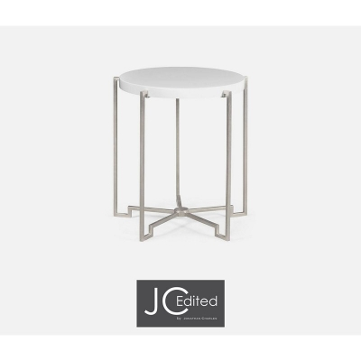 Jonathan Charles Silver Iron Round Lamp Table in Biancaneve Top