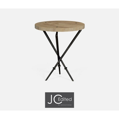 Jonathan Charles Round Lamp Table with Iron Base