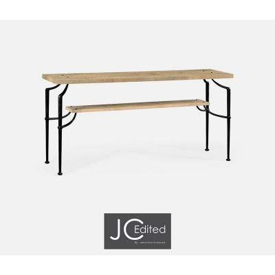 Jonathan Charles Rectangular Console Table with Iron Base