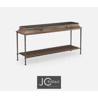 Jonathan Charles Rectangular Console Table with Iron Base and Marble Top