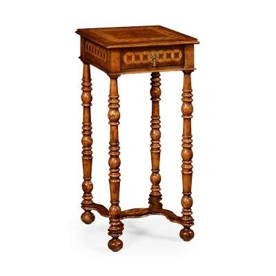 Jonathan Charles Rope Twist Walnut Square Side Table