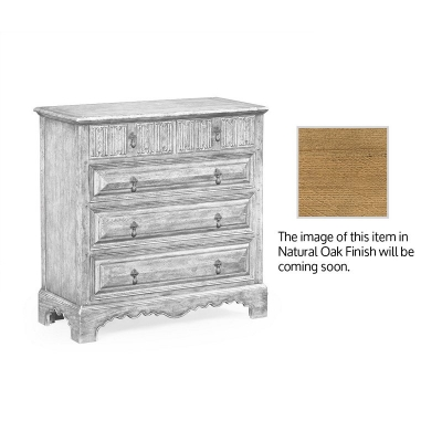 Jonathan Charles Linenfold Natural Oak Chest of Drawers