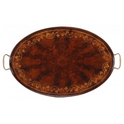 Jonathan Charles Oval Tray with Floral Inlay