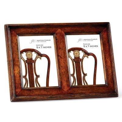 Jonathan Charles Double Country Walnut Picture Frame