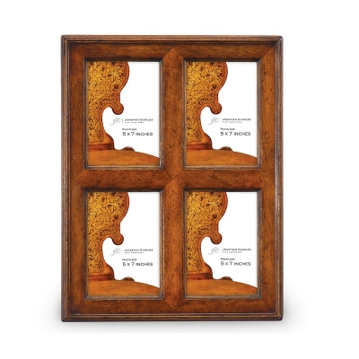 Jonathan Charles Quadruple Country Walnut Picture Frame