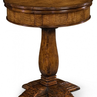 Jonathan Charles Walnut Round Side Table with Drawer