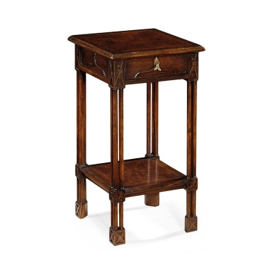 Jonathan Charles Dark Crotch Walnut Square Lamp Table