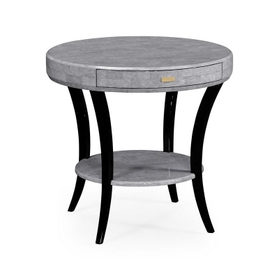 Jonathan Charles White Smoke Eggshell Inlay Round Side Table with Drawer