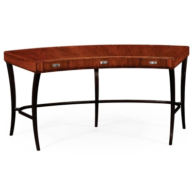 Jonathan Charles Art Deco Curved Desk with Drawers and Stainless Steel Handles