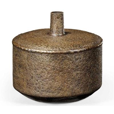 Jonathan Charles Textured Brass Lidded Vase