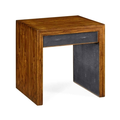 Jonathan Charles Argentinian Walnut and Anthracite Faux Shagreen Side Table