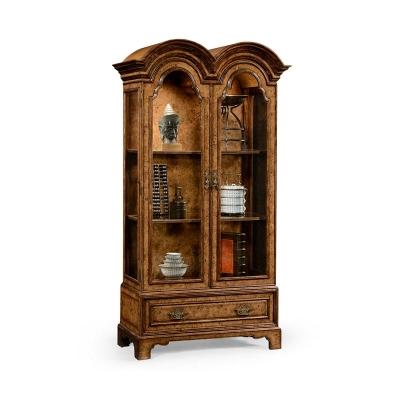 Jonathan Charles Queen Anne Pollard Veneer Bookcase with Glazed Doors