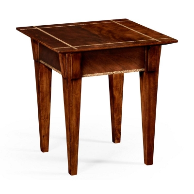 Jonathan Charles Craftsmans Mahogany Side Table with Herringbone Inlay Detail