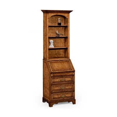 Jonathan Charles Burl Oak Slender Bookcase Bureau