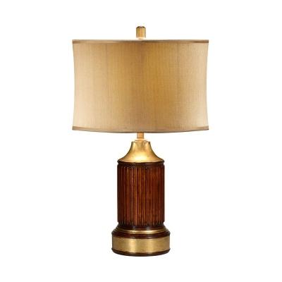 Jonathan Charles Round Fluted Mahogany Table Lamp