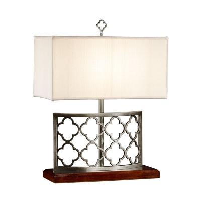 Jonathan Charles Silvered Gothic Trellis Table Lamp