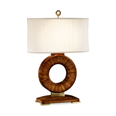 Jonathan Charles Inch Porthole Inch Table Lamp with Zebrano Wood and Brass Finish