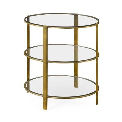Jonathan Charles Modernist Brass Circular Side Table