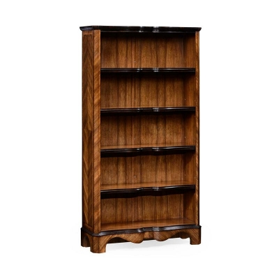 Jonathan Charles Argentinian Walnut Tall Open Bookcase