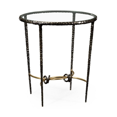 Jonathan Charles Bronze Finish Hammered Iron Circular Side Table