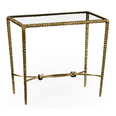 Jonathan Charles Patinated Finish Hammered Brass Rectangular Side Table