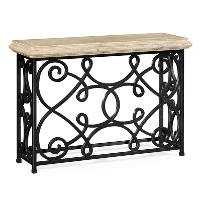 Jonathan Charles 54 Inch Width Rectangular Limed Wood Console with Wrought Iron Base