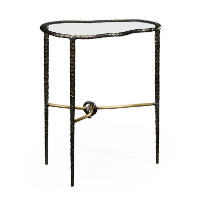 Jonathan Charles Bronze Hammered Freeform Lamp Table