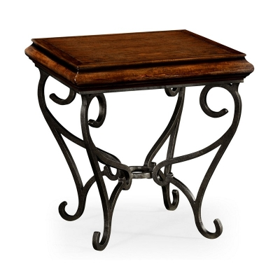 Jonathan Charles Rustic Walnut Square Side Table with Wrought Iron Base