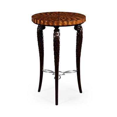 Jonathan Charles Feather Inlay 3 Legged End Table with Stainless Steel Strecher