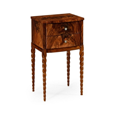 Jonathan Charles Lamp Table with Tropical Walnut Crotch Twisted Legs