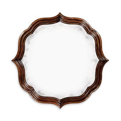 Jonathan Charles Rustic Walnut Round Antique Mirror