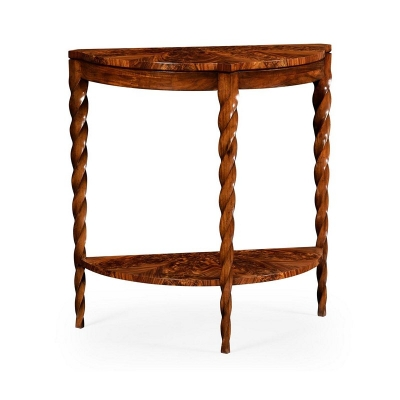 Jonathan Charles Demilune Console with Walnut Twisted Legs