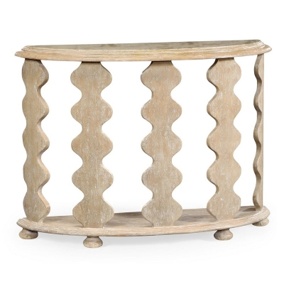 Jonathan Charles Demilune Console Table in Limed Acacia