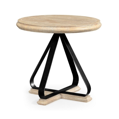 Jonathan Charles Round Side Table with Iron Base in Limed Acacia