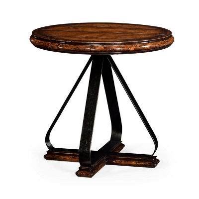 Jonathan Charles Round Side Table with Iron Base in Rustic Walnut