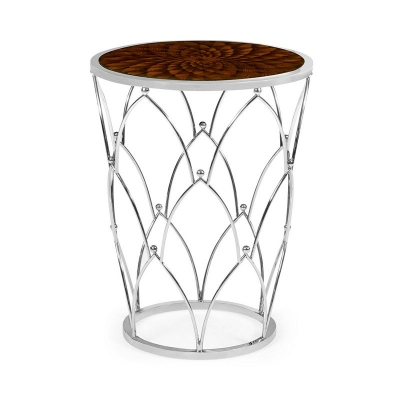 Jonathan Charles Feather Inlay Round Side Table