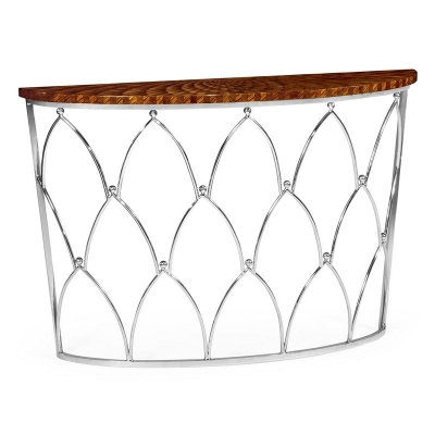 Jonathan Charles Feather Inlay Demilune Console Table