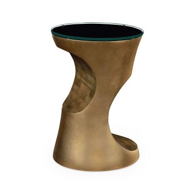 Jonathan Charles Metallic Bronze Round Lamp Table