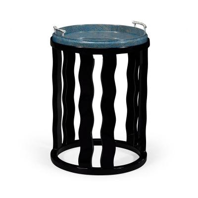 Jonathan Charles Smoky Black Side Table with Reversible Top