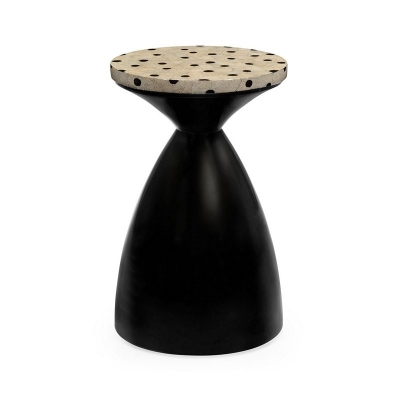 Jonathan Charles Smoky Black Round Wine Table with An Eggshell Top