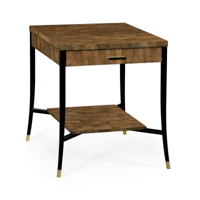 Jonathan Charles Brown Eggshell Inlay End Table with Drawer