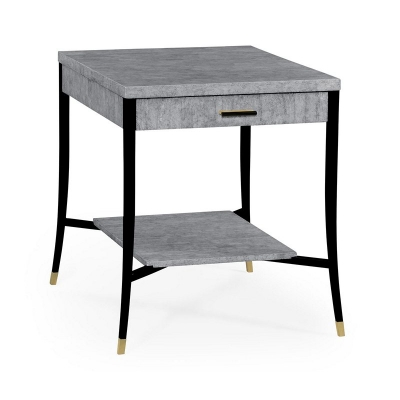 Jonathan Charles White Brushed Eggshell Inlay End Table with Drawer